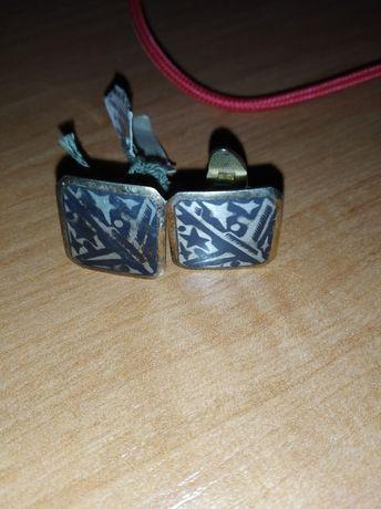 Серебро в позолоте запонки северная чернь шикарный винтаж