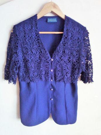 Granatowa koszula damska z koronką, vintage 80s, retro Debenhams, rozM
