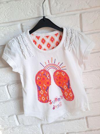 Biała bluzka, t-shirt, krótki rękaw, r.80/86