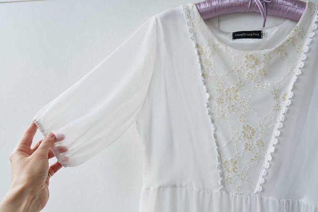 Летящее нарядное длинное шифоновое белое платье гипюр кружево