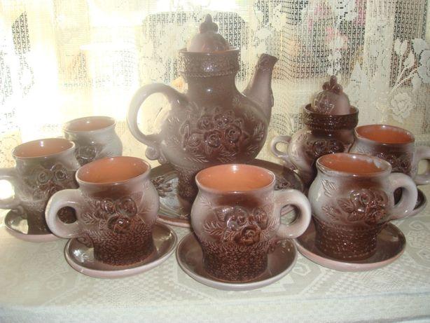 керамический чайный на 6 персон сервиз типа борокка -новый