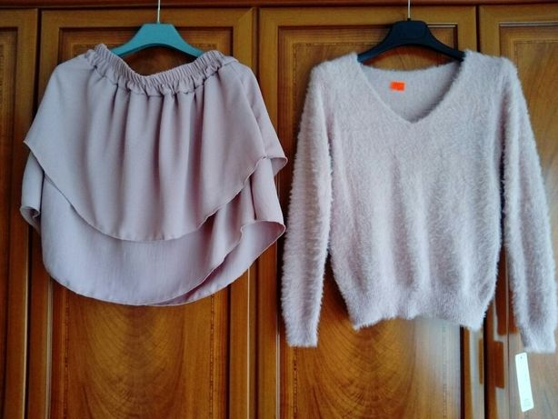 Śliczne komplety spódniczka sweter azur SMl.