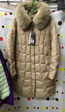 Пальто длинное, пуховик, большой размер 56-60 , ЛЮКС КАЧЕСТВО, мех нат