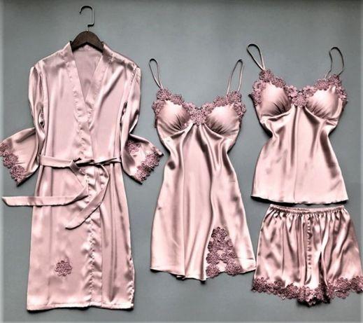 Шелковый Комплект Victoria's Secret шелковая женская пижама халат