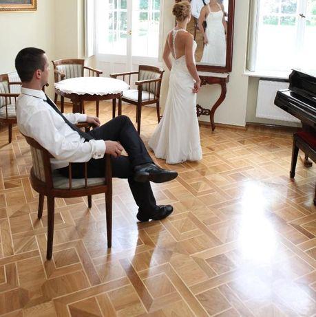 Suknia ślubna Maggie Sottero Caprice bez pleców ecru ekri gołe plecy +