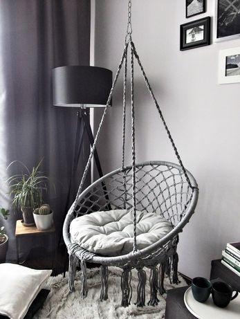 Fotel wiszący z poduszką   Bocianie gniazdo   Szary   Kremowy