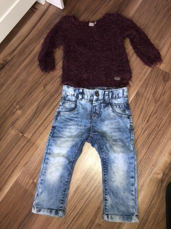 Super zestaw puchaty sweter jeansy Vero moda