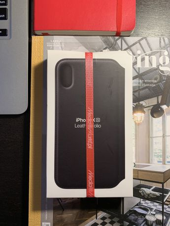 Leather folio case czarny iPhone XS