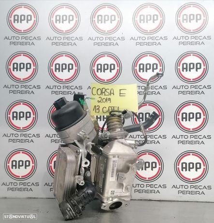 Corpo filtro de óleo, permutador EGR, permutador óleo Opel Corsa E 1.3 CDTI motor B13DTC.