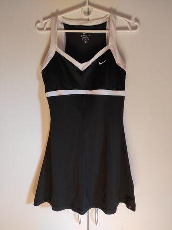 Nike sukienka z wszytym biustonoszem 36 S czarna biała lamówka