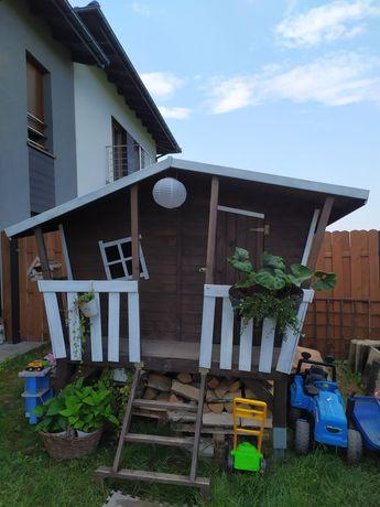 Oryginalny DUży domek drewniany ogrodowy dla dzieci pomalowany +gratis
