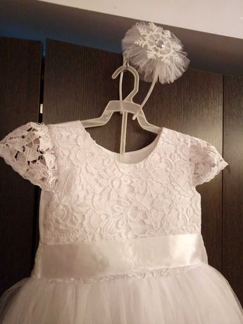 Карнавальный костюм белое платье Принцесса Снежинка Метелица Зима