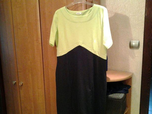 Sukienka dzianina limonka i grafit, rozm XL.