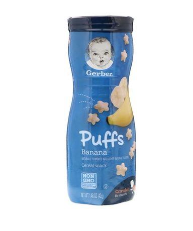 Puffs, злаковые подушечки, для малышей от 8м.,клубника и яблоко, банан
