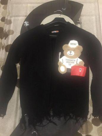 Czarny poszarpany sweter miś 3D