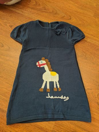 Vestido malha algodão inverno menina 6-8 anos