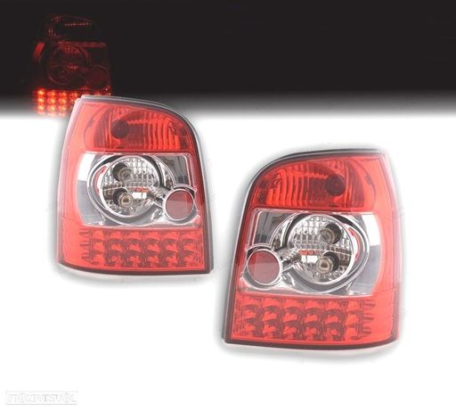 FAROLINS TRASEIROS LED AUDI A4 B5 AVANT 95-01 VERMELHO / CROMADO