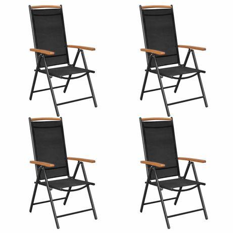vidaXL Cadeiras de jardim dobráveis 4 pcs alumínio e textilene preto 41733