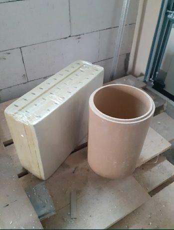 Wklad ceramiczny fi200 do kominkow systemowych + wełna