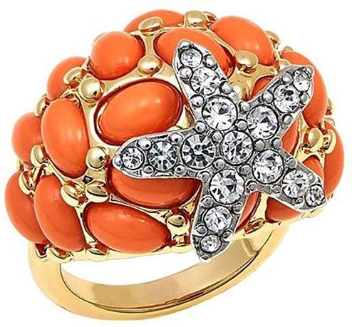 Кольцо с коралловыми кабошонами, производитель:KJL