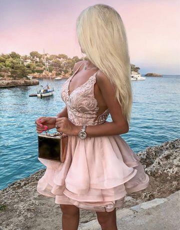 Lou sukienka Kimmy wesele impreza xs s m pudrowy róż rozkloszowana