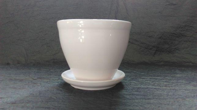 DONICZKA Z PODSTAWKĄ biała ceramika 16,5x13h kpl.