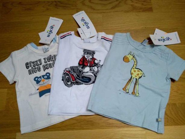 Nowe 6 SZTUK = 3szt. Koszulki F&F r. 62, i 3-pak koszulki Wójcik r.68
