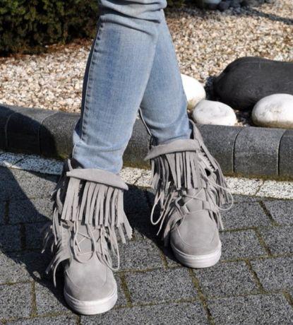 Sprzedam sneakersy boho 38 Beyco skóra naturalna szare nubuk jak nowe