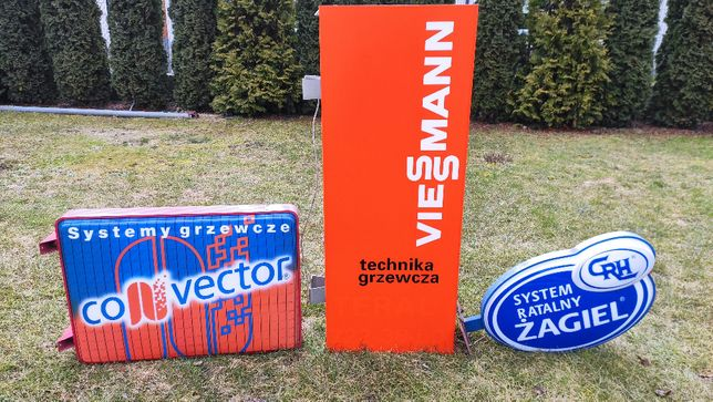 Neon reklama świetlna kaseton Viessmann Convector Żagiel lata 90