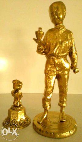 Campainha + boneco decorativo metal (novo)