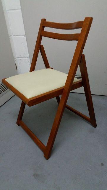 Krzesło rozkładane drewniane miękkie siedzisko 4 sztuki