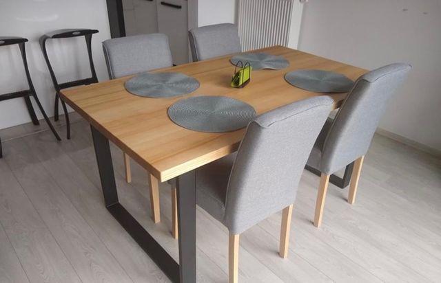 Stół dębowy do jadalni - stalowy- loft - industrialny - do salonu-Nowy