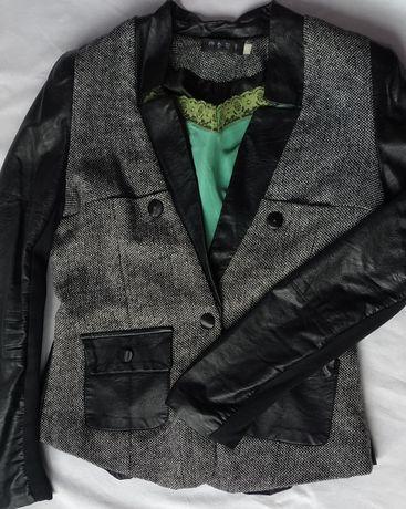 Пиджак с кожаными вставками