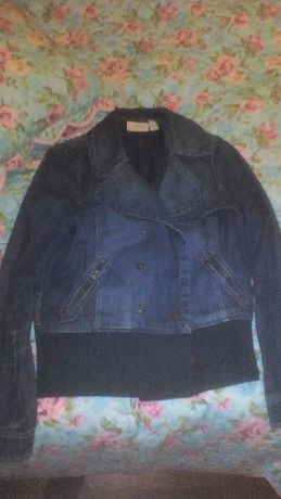 casaco de ganga escuro MANGO tam L como novo!!