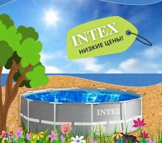 Круглый бассейн Intex размер 366x99 см, насос и лестница в комплекте