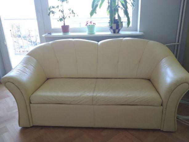 Sofa, kanapa skórzana z funkcją spania