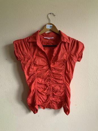 Czerwona bluzka koszulowa, rozmiar XS, marszczona