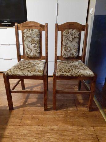 Krzesła drewniane z obiciem