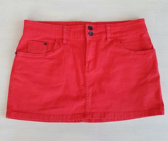Nowa krótka spódniczka mini czerwona koralowa malinowa Terranova 36 s