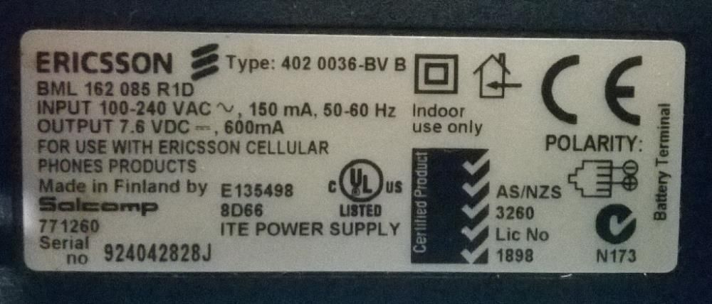 Carregador Ericsson BML 162 085 R1D Sé - imagem 1