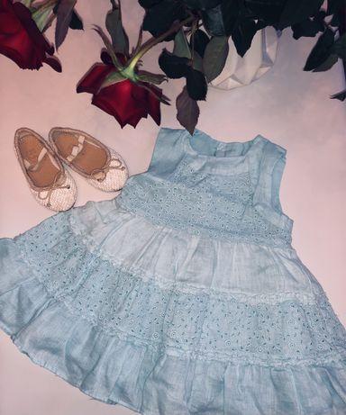 Платье на принцессу лен и прошва