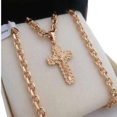 Luksusowy złoty łańcuszek ANKIER 55cm +KRZYŻYK 18K GWARANCJA PREZENT