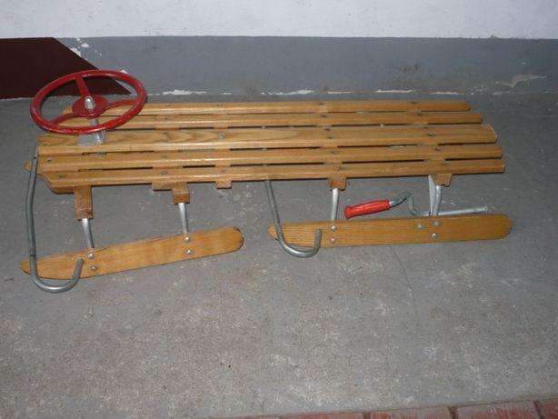 2 osobowe drewniane sanki z kierownicą