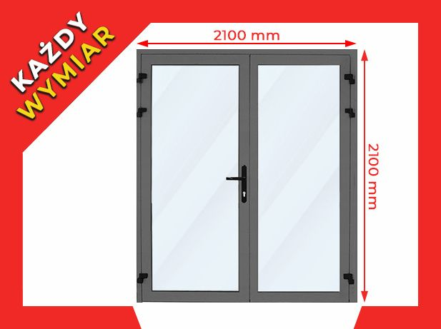 Drzwi Sklepowe Aluminiowe PCV ZIMNE 2100 x 2100 mm
