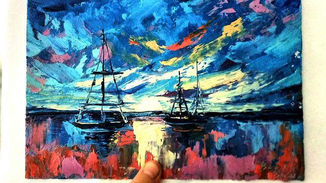 "Картина ""Яхты в море"", масло, картон, 16,7#24,5см, миниатюра"