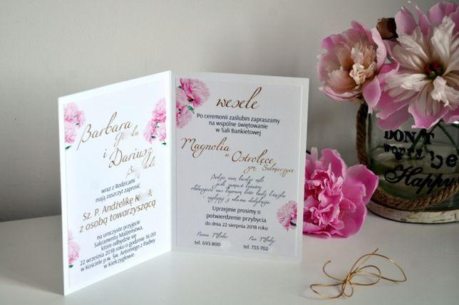 Zaproszenie Ślub 2021 Piwonie Złote napisy