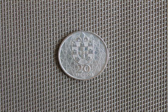 Moeda comemorativa 20$00 prata 1966 Ponte Salazar (BELA/SOB)