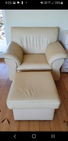 Fotel i pufa skórzana