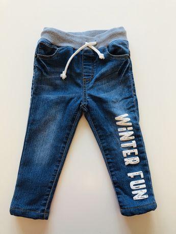 Nowe ocieplane jeansy na gumce dla chlopca 86