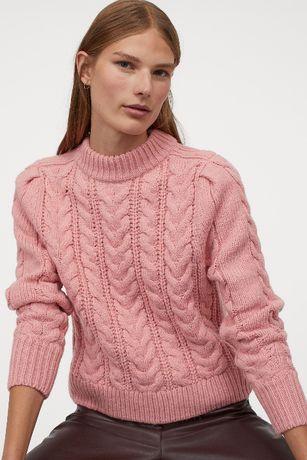 Sweter warkoczowy r. M Nowy H&M różowy ciepły gruby